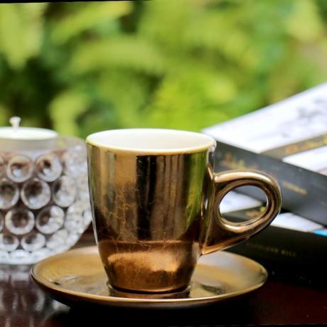 Bộ Tách + Dĩa Espresso gốm Bát Tràng men đồng
